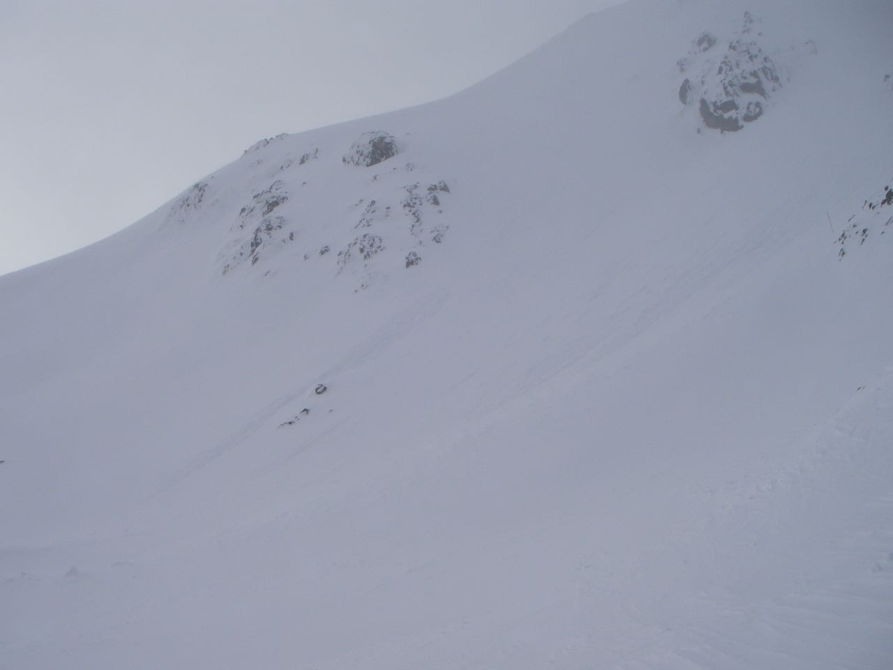 A sluff with the cornice debris which had probably started it.