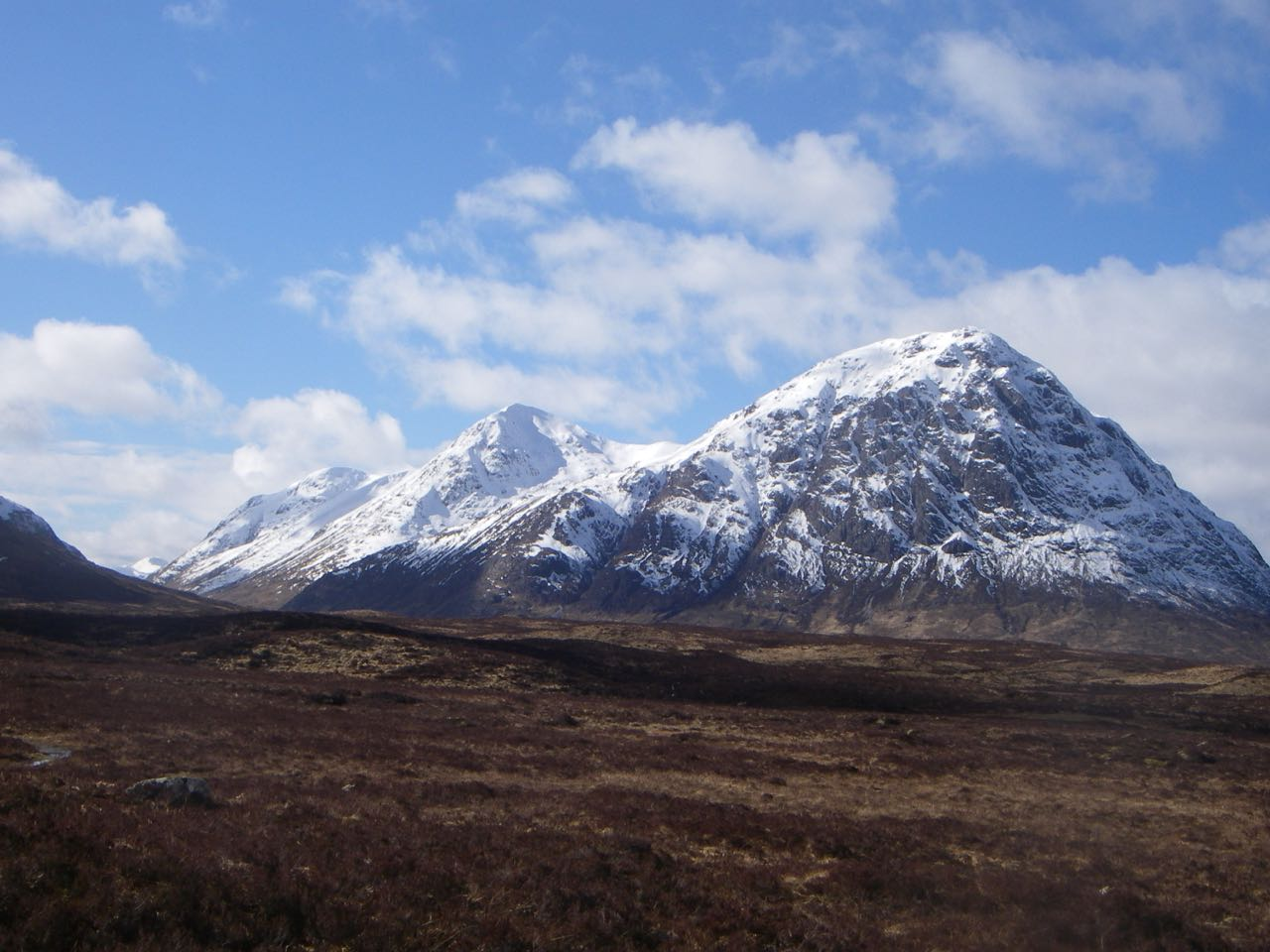 Looking the full length of the Buachaille Etive Mor ridge from Blackrock Cottage.