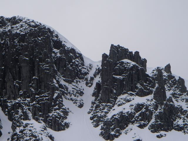 Still a substancial cornice above North Gully in Coire nan Lochan