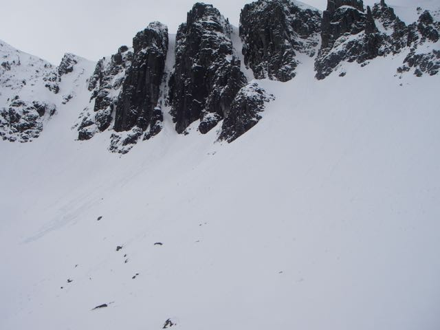 Avalanche track just visible out of SC Gully.